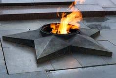 在下落的战斗机正方形的永恒火焰  伏尔加格勒 图库摄影