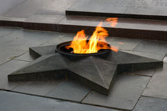 在下落的战斗机正方形的永恒火焰  伏尔加格勒 免版税库存照片