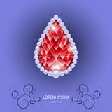 在下落份额的红色红宝石与珍珠的 库存图片