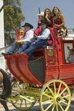 在下降状态营业日游行街道,圣塔巴巴拉,加州,老西班牙天节日, 2005年8月3-7期间的驿马车, 免版税库存图片