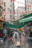 在下雨以后的寺庙街道 免版税库存图片