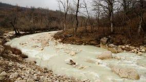 水在下雨以后的河流程 影视素材