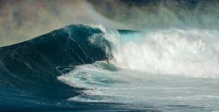 在下颌毛伊夏威夷的大波浪 免版税库存图片