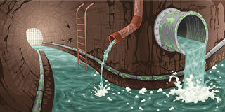 在下水道里面。 免版税库存照片
