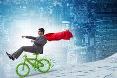 在不伤环境的运输概念的绿色bycycle 免版税库存照片