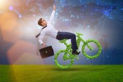 在不伤环境的运输概念的绿色bycycle 图库摄影