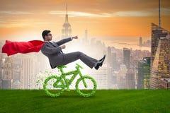 在不伤环境的运输概念的绿色bycycle 库存照片
