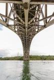在不列颠尼亚桥梁下的看法从下面 免版税库存图片