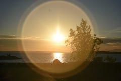 在不列颠尼亚` s海滩的日落 免版税库存图片