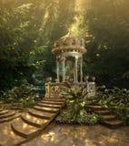 在不可思议的森林幻想背景3D例证的浪漫童话眺望台 免版税库存图片