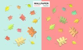 在不同的背景的秋叶 免版税库存照片