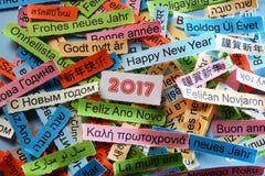 在不同的语言的新年快乐 库存图片