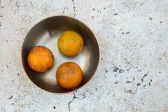 在不锈钢碗的树桔子 免版税库存照片