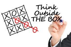 在与企业手文字的箱子文本之外认为在透明背景 免版税库存照片