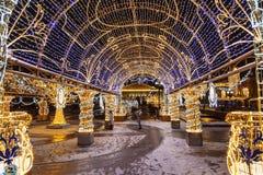 在与发光的多彩多姿的曲拱,Manezhnaya广场,莫斯科的新年和圣诞节假日期间, 免版税库存图片