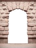 在与地方的白色背景隔绝的石老曲拱文本的 免版税库存图片