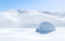 在与多雪的山,北极风景场面的雪原隔绝的园屋顶的小屋 库存照片