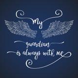 在与天使翼的手拉的行情上写字 免版税库存照片