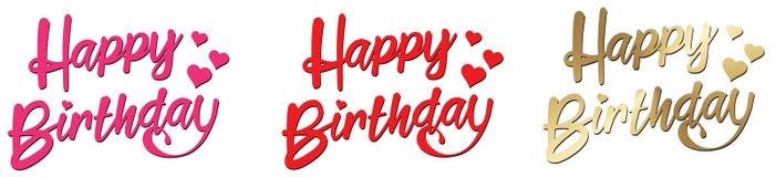 在与心脏的生日快乐桃红色红色金子上写字 皇族释放例证