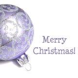 在与文本的白色隔绝的圣诞节装饰品:圣诞快乐 免版税图库摄影