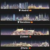 在与明亮的光的晚上导航马德里、巴塞罗那、里斯本和波尔图市的例证地平线 西班牙的地图和的旗子 皇族释放例证