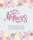 在与桃红色花的背景隔绝的愉快的母亲` s天文本 图库摄影