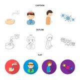 在与水洗涤的轻拍下他们的手,有一个热水袋的患者有在他的头的冰的在围巾,一个人有 向量例证