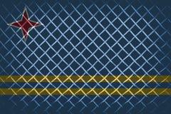 在与混和阿鲁巴旗子的钢滤网后 免版税库存照片