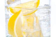 在与熔化的冰切片立方体的一块玻璃一个水多的柠檬 图库摄影
