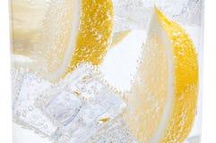 在与熔化的冰切片立方体的一块玻璃一个水多的黄色柠檬 图库摄影