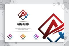 在与简单和现代五颜六色的样式的一个商标传染媒介设计上写字 信件的例证企业技术公司的 皇族释放例证