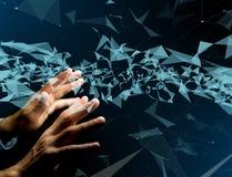 在与线的一个未来派接口显示的抽象三角 免版税库存图片
