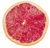在与裁减路线的白色背景葡萄柚隔绝的切片 库存照片