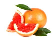 在与裁减路线的白色背景隔绝的粉红色葡萄柚和切片 被隔绝的葡萄柚 新鲜的葡萄柚与 免版税库存图片