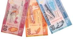 在与裁减路线的白色背景隔绝的100,20,50卢比斯里兰卡的钞票  库存图片