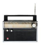 在与裁减路线的白色背景隔绝的老收音机 图库摄影
