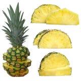 在与裁减路线的白色隔绝的菠萝 免版税库存照片