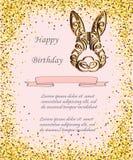 在与金黄五彩纸屑的背景隔绝的兔宝宝头 向量例证