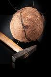在与锤子的一半打破的椰子 免版税库存图片