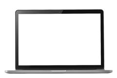 在与黑屏和裁减路线的白色隔绝的膝上型计算机 免版税库存图片