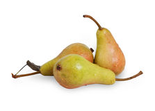 在与阴影的白色隔绝的三个成熟黄色红色矮小的梨 免版税库存图片