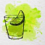 在与绿色水彩飞溅的纸速写的龙舌兰酒射击 也corel凹道例证向量 免版税库存照片