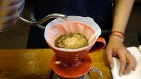 在专业咖啡馆的酿造咖啡 免版税库存图片