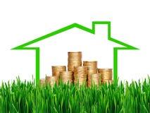在专栏的许多硬币在绿草的房子里 财政concep 库存照片