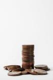 在专栏的金属硬币 免版税库存图片