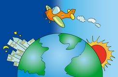 在世界中的航空 皇族释放例证