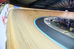 在世界冠军的自行车赛车道 免版税图库摄影