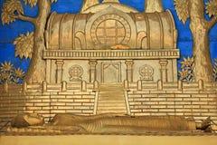 在世界和平塔的Mahaparinirvana雕象在博克拉,尼泊尔 库存图片