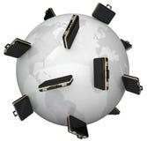 在世界国际旅行附近的全球企业公文包 免版税库存图片