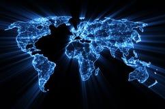 在世界地图的发光的蓝色万维网 免版税库存照片
